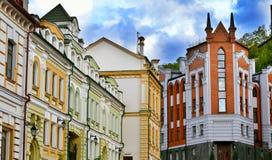 Casas velhas na rua da descida do St Andrew em Kyiv Foto de Stock Royalty Free