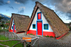 Casas velhas típicas em Madeira Fotos de Stock Royalty Free
