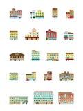 Casas venecianas fijadas - edificios italianos fijados Imagen de archivo libre de regalías
