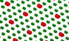 Casas verdes e vermelhas Fotos de Stock Royalty Free