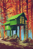 Casas verdes en bosque del otoño ilustración del vector