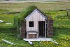 Casas verdes típicas com o telhado dos gras em Islândia foto de stock royalty free
