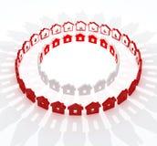 Casas vermelhas e brancas na metáfora do círculo Fotografia de Stock