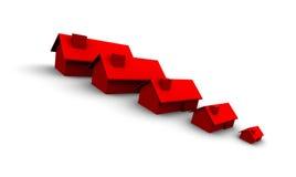 Casas vermelhas grandes a pequeno Fotografia de Stock
