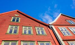 Casas vermelhas norueguesas tradicionais, Bergen Imagem de Stock