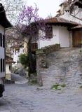 Casas viejas de la opinión de la ciudad Imagenes de archivo