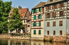 Casas viejas en el distrito del La Petite France en Estrasburgo Fotografía de archivo libre de regalías