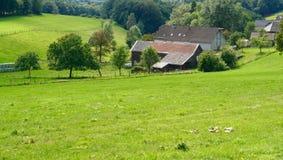 Casas viejas en un prado grande Fotografía de archivo libre de regalías