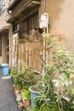 Casas viejas en una calle trasera en Asakusa, Tokio, Japón Foto de archivo