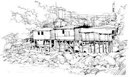Casas viejas entre la naturaleza en campo stock de ilustración