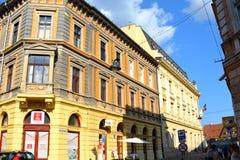 Casas viejas típicas en Sibiu, capital europea de la cultura por el año 2007 Fotografía de archivo libre de regalías