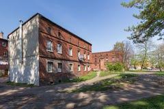 Casas viejas tradicionales del ladrillo en Zabrze Fotografía de archivo
