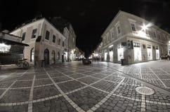 Casas viejas y calle vieja en transilvania Imágenes de archivo libres de regalías