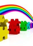 Casas y arco iris del color libre illustration