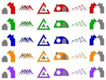 Casas y diseños del icono de la insignia del vector de la construcción Imagenes de archivo