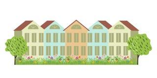 Casas y jardín Foto de archivo