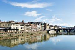 Casas y río Arno Florence Foto de archivo libre de regalías