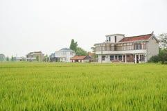 Casas y tierra de cultivo chinas del pueblo foto de archivo