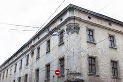 Casas y torres viejas de la ciudad histórica de Lvov Ucrania, visión Foto de archivo libre de regalías