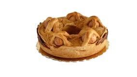 Casatiello Easter traditional Neapolitan Italian salty bread isolated. On white stock video