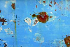 Casca azul oxidada envelhecida do ferro do barco do grunge Foto de Stock Royalty Free