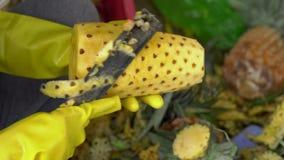 Casca da pessoa um abacaxi em um mercado filme
