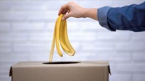 Casca de jogo da banana da mão no escaninho de lixo, reciclando o desperdício que classifica, close up fotografia de stock royalty free