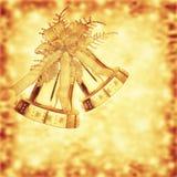 Cascabeles de oro de la Navidad Foto de archivo