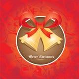 Cascabeles del vector con el arco rojo. tarjeta de Navidad Imagen de archivo