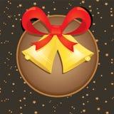 Cascabeles del vector con el arco rojo. tarjeta de Navidad Fotos de archivo libres de regalías
