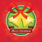 Cascabeles del vector con el arco rojo. tarjeta de Navidad Fotos de archivo