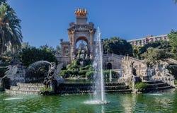 Cascada喷泉巴塞罗那西班牙 免版税库存照片