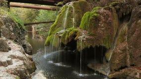 Cascada única hermosa de Bigar en Rumania almacen de metraje de vídeo