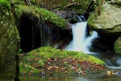 Cascada - cascada en el bosque del otoño Fotografía de archivo libre de regalías