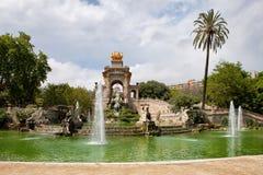 The Cascada in Ciutadella Park in Barcelona. The Cascada monument with waterfall and fountain in Parc de la Ciutadella in Barcelona, Catalonia, Spain Stock Photos