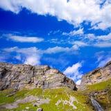 Cascada Cola de Caballo Circo de Soaso alla valle Pirenei di Ordesa Fotografie Stock