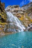 Cascada Cola de Caballo en el valle los Pirineos España de Ordesa Fotos de archivo libres de regalías