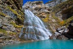 Cascada Cola de Caballo na Espanha de Pyrenees do vale de Ordesa Fotografia de Stock