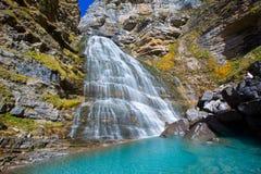 Cascada Cola de Caballo at Ordesa Valley Pyrenees Spain. Cascada Cola de Caballo waterfall under Monte Perdido at Ordesa Valley Aragon Huesca Pyrenees of Spain royalty free stock photos