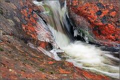 Cascada con el musgo rojo Imagenes de archivo