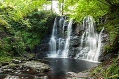 Cascada con la pequeña charca de agua abajo rodeada por los árboles y el lu Fotos de archivo