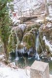 Cascada de Bigar congelada fotografía de archivo