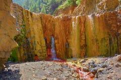 Cascada DE Colores - Schilderachtige dam voor regenwater in een vulkanische krater, die colorfully door mineraalwater, Caldera DE stock afbeelding