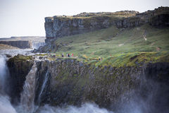 Cascada de Dettifoss en Islandia en el tiempo cubierto Foto de archivo libre de regalías