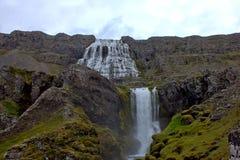 Cascada de Dynjandi - la joya del Westfjords Foto de archivo