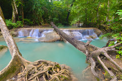 Cascada de Erawan, Kanchanaburi, Tailandia Imágenes de archivo libres de regalías