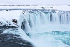 Cascada de Godafoss en invierno Imagen de archivo