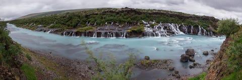Cascada de Hraunfossar Imagen de archivo libre de regalías