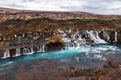Cascada de Hraunfossar, Islandia Fotos de archivo libres de regalías
