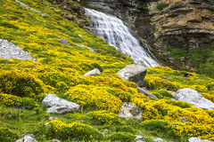 Cascada de la Cueva waterfall in Ordesa valley Pyrenees Huesca S. Pain Arazas river Royalty Free Stock Image